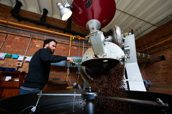Gary Regan roasts coffee at Square Mile Coffee Roasters