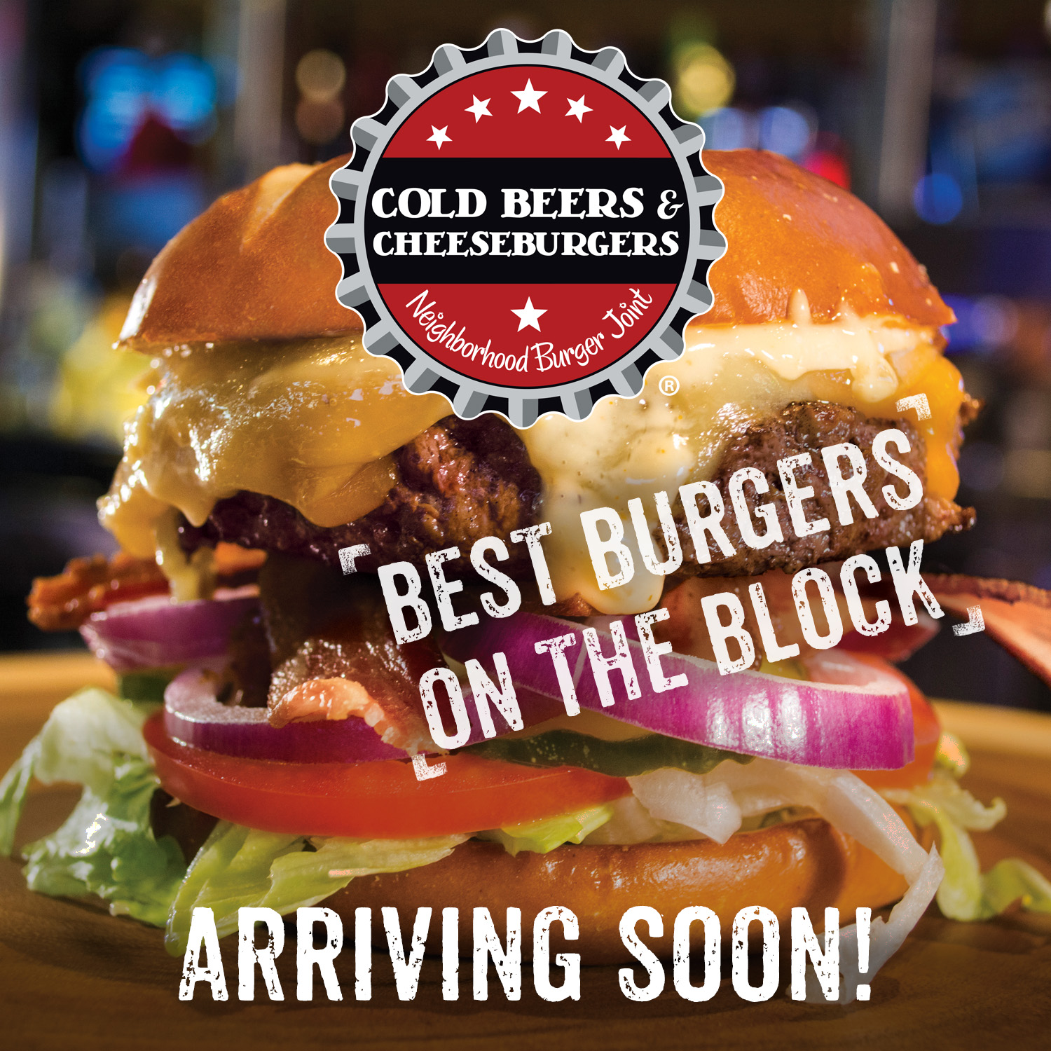 Cold Beers & Cheeseburgers coming soon graphic