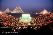 Squash court erected in front of the Giza pyramids, Cairo, 1997 Al Ahram International
