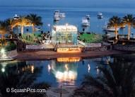 Squash court erected on the Marriott Beach Resort island, Hurghada, 2000 Hurghada International