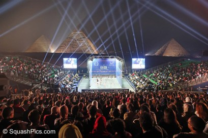 2019 Womens World Squash Championships final played in front of the Giza pyramids, Cairo on Nov 1; Nour El Sherbini (Egy) beat Raneem El Welily (Egy) 3-1. Free to use