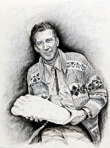 This painting of John Green was presented to him and his family at the 2011 tribute to Green in Harrison Hot Springs. Image courtesy of the painter, Sybilla Irwin.