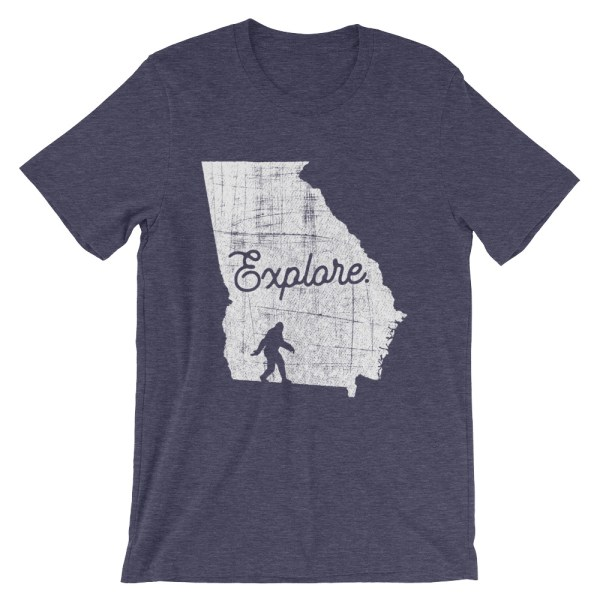 Heather navy explore Georgia Bigfoot t-shirt