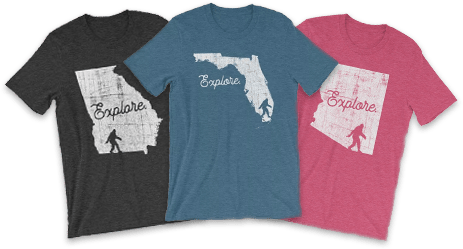 Group of shirts from various States with a bigfoot on them..