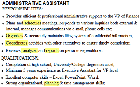 Sample Job Description Administrative Assistant  Administrative Assistant Duties Resume