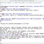 La imagen muestra el código HTML de una página, dándole un color específico a las etiquetas, sus parametros y demás contenidos.