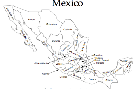 map of mexico with names colouring pages