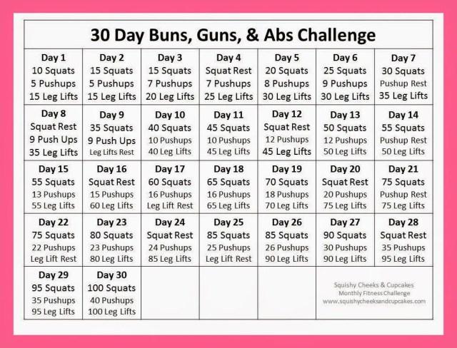 Monthly Fitness Challenge Calendar