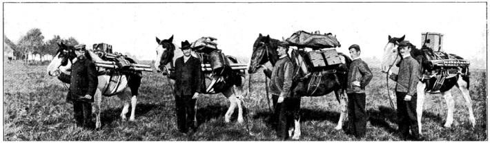 Ihmisiä hevosineen.