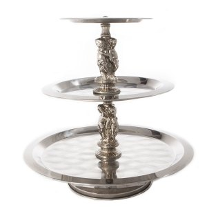 3-tier silver serving piece-side view