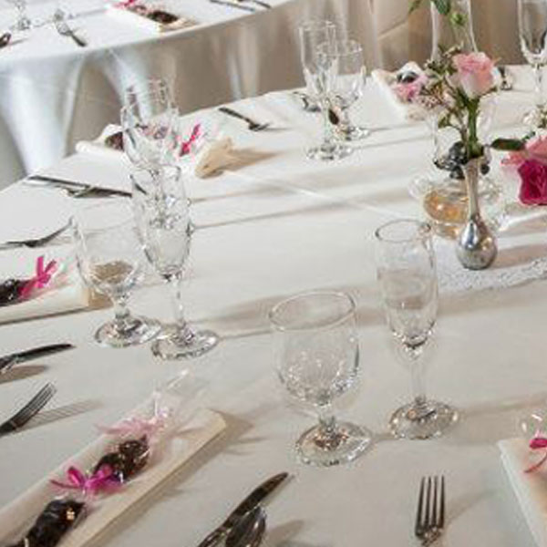 Glassware in use in table set up.