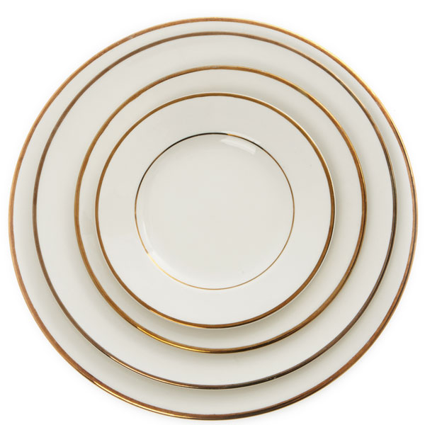 Victoria gold rimmed plates - various sizes - bread plate, salad/dessert plate, luncheon plate and dinner plate