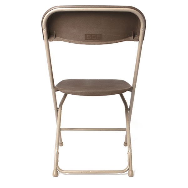 basic brown folding chair- back view