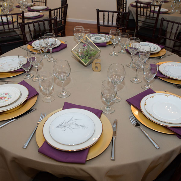 Mixed china with linen and gold charger