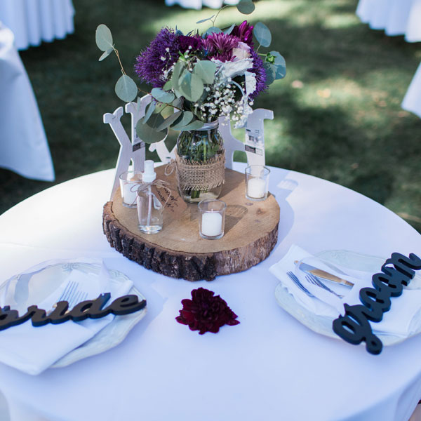 36-inch round table - decorated for bride and groom