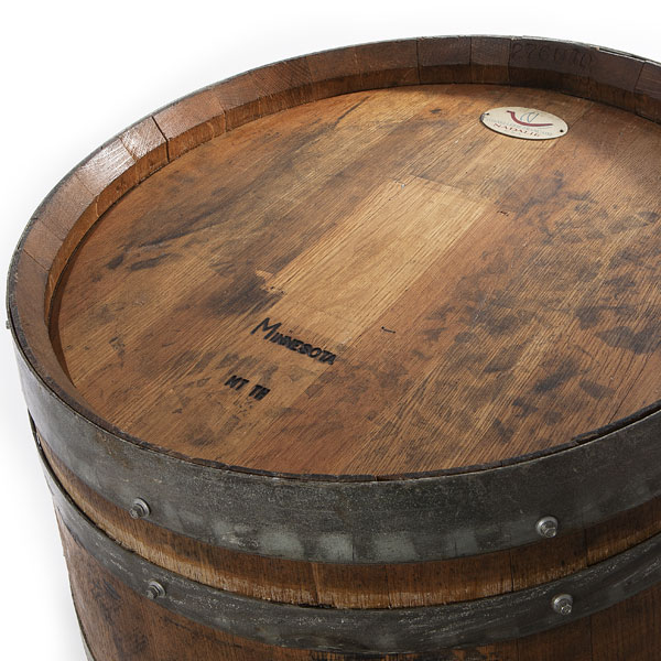 Light wine barrel top view