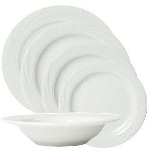 Arcadia white china collection- swirled edge plates and bowls