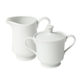 white china sugar bowl and creamer