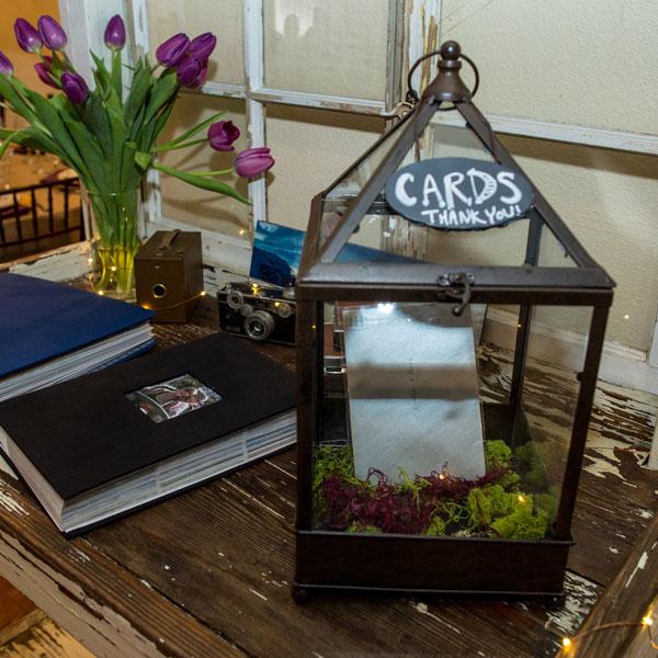 Bronze and glass terrarium card box