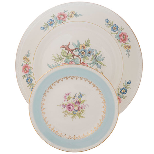 Vintage charm with a mix and match of beautiful china. Mix and match designs will lend a country elegance to your table.