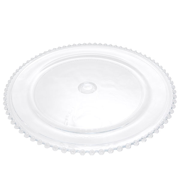 Top view- beaded edge glass cake stand