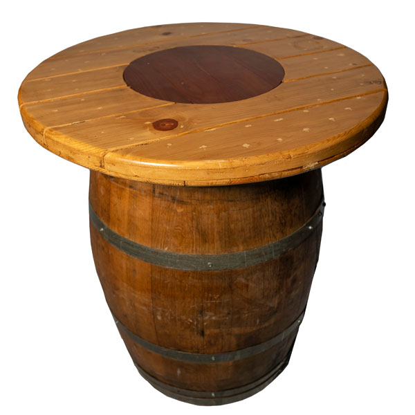 "Spool top gives you a display area of 36"" on top of the wine barrel."