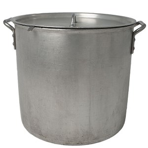 Large 50-quart stock pot with lid and ladle