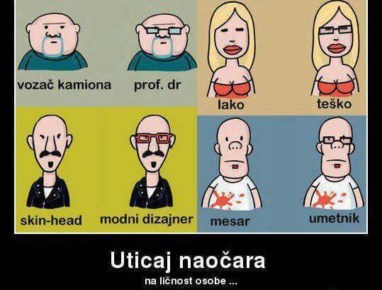 Utjecaj naočala na ličnost
