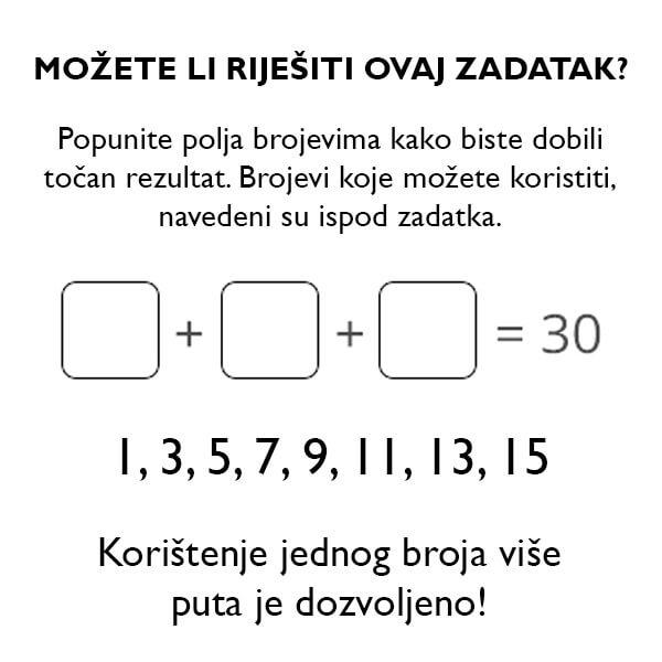 Možete li riješiti ovaj matematički zadatak?