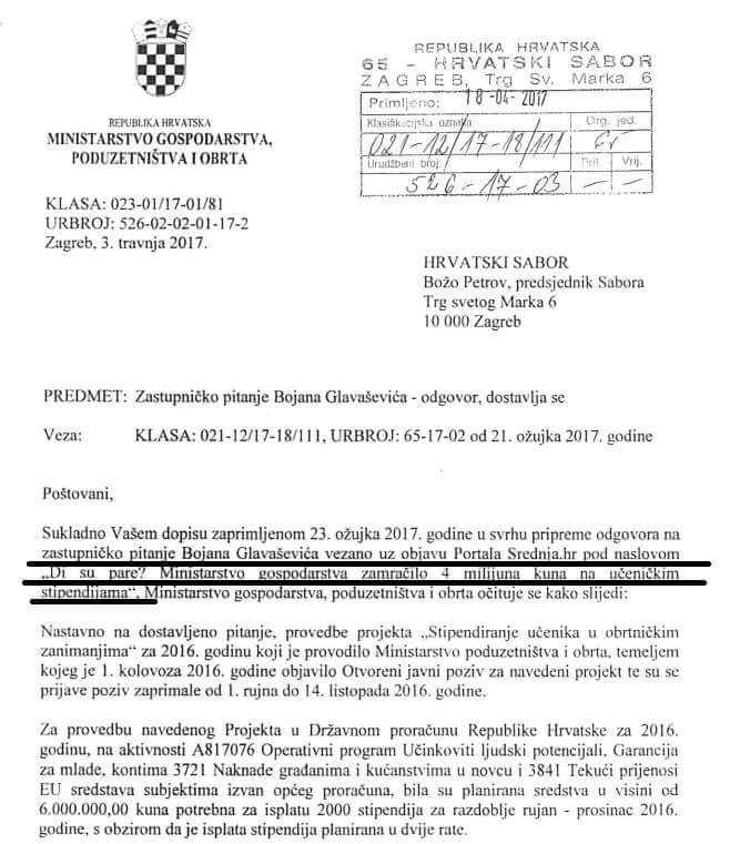 Ministrica Dalić pod pritiskom napokon odgovorila na naše pitanje di su pare od stipendija