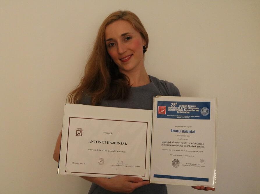 Napisala najbolji diplomski rad iz marketinga u Hrvatskoj pa zbog toga novčano nagrađena