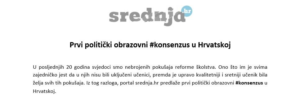 Stigla podrška prve stranke iz vladajuće koalicije na naš prijedlog #konsenzusa za učenike