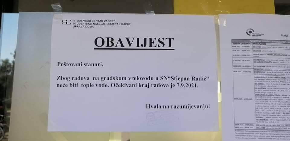 Obavijest u Studentskom domu Stjepan Radić