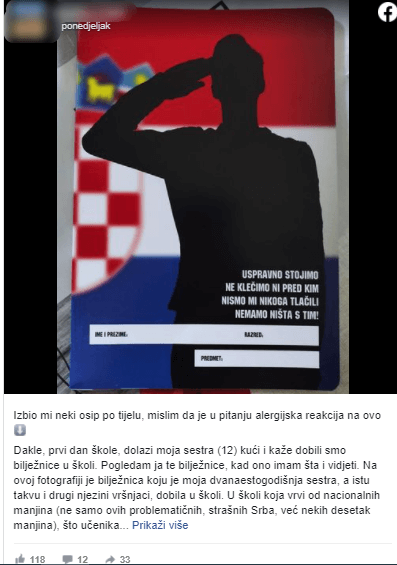 Bilježnica s vojnikom, hrvatskom zastavom i kontroverznim natpisom
