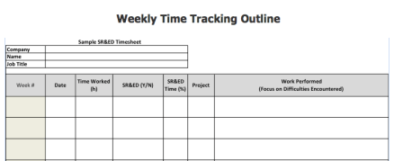 A sample time tracking sheet for correctly allocating SR&ED work. (Courtesy of The Comprehensive Guide to SR&ED)