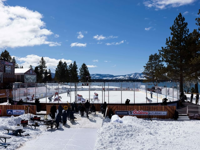 The NHL game at Lake Tahoe made for unusual pictures.