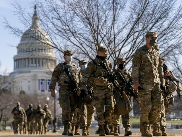 National Guard in front of the Capitol.