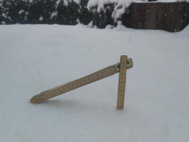 Double meter stuck in the snow.