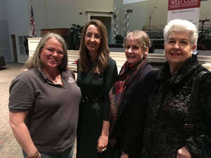 West Cobb Business Association - January 2019 with Pamela Saunders from Butterfly Consulting, District 1 Commissioner Keli Gambrill, San Miller from South Cobb Arts Alliance and Phyllis Silverman from the Senior Resource Foundation of Cobb County