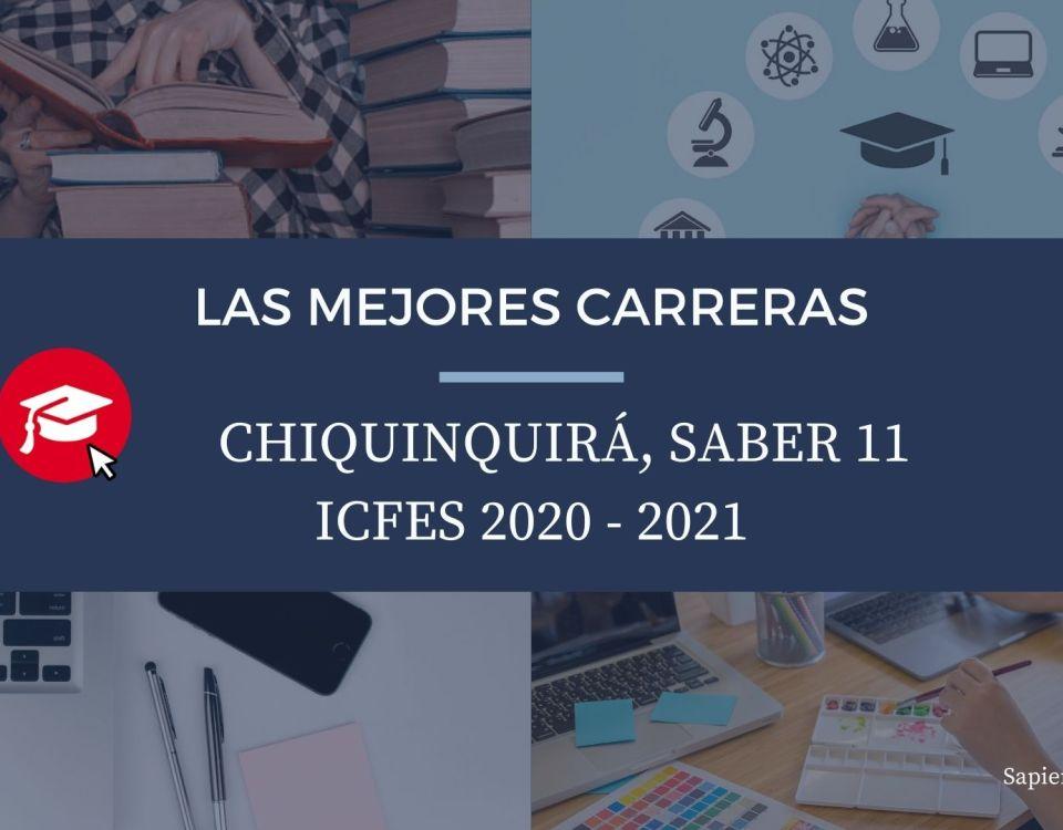 Las mejores carreras Chiquinquirá, saber 11, Icfes 2020-2021