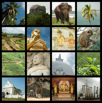 Sri lanka collage with photos of Ceylon landmarks