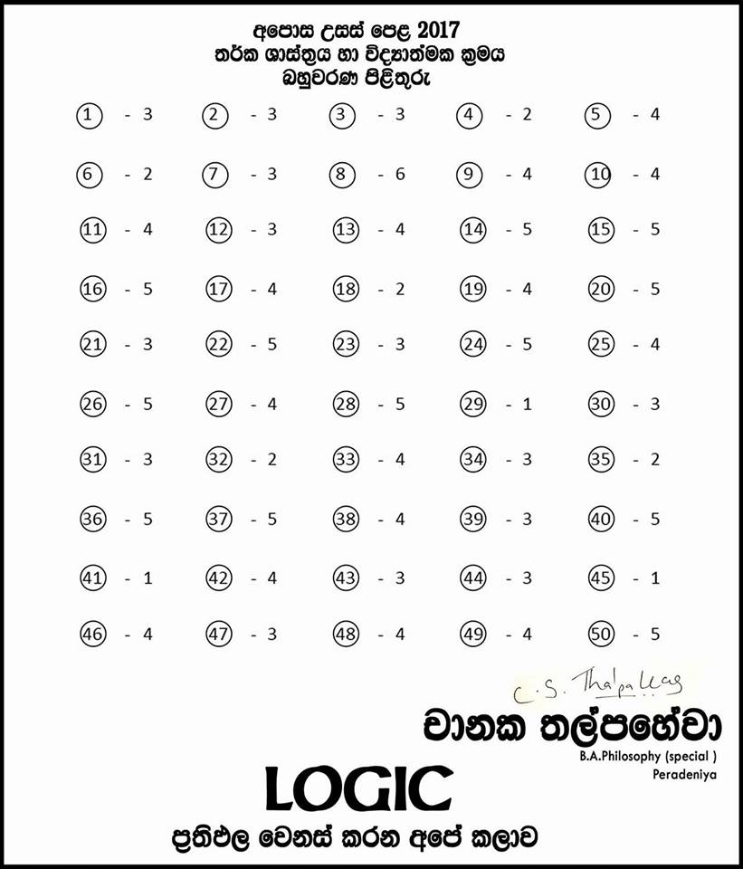 Logic A/L 2017 MCQ Answers
