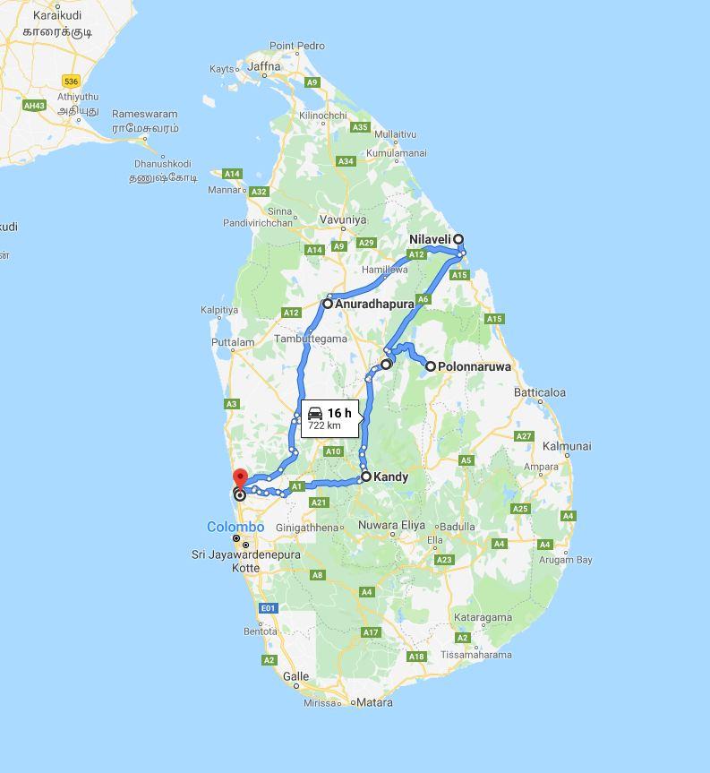 Sri lanka Tour route map
