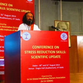 Sri Sri addresses the 'Stress Reduction Skills: Scientific Update' conference
