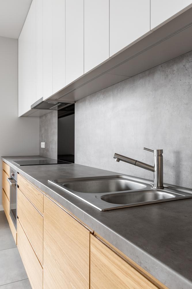 modern kitchen with concrete countertop