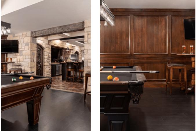 Lower level billiards room design