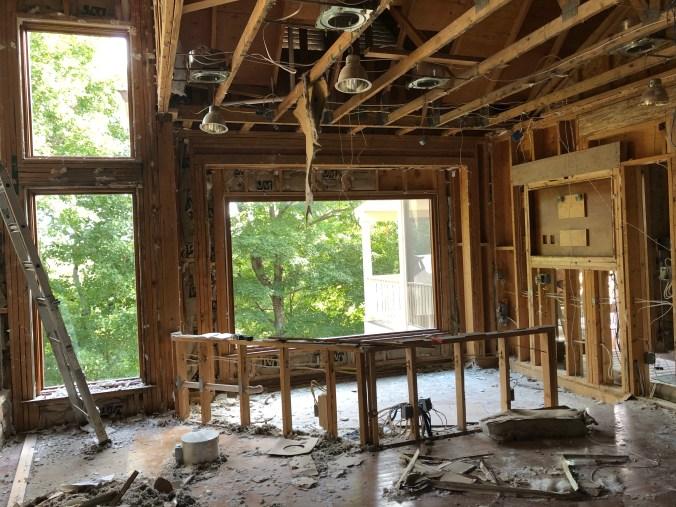 Bar area renovation before drywall