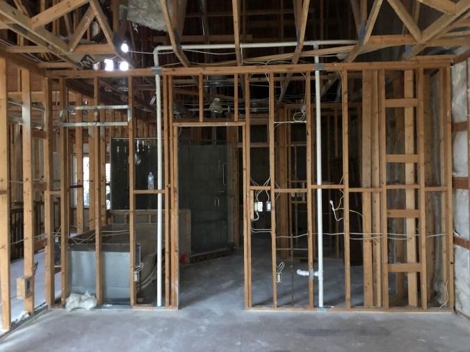 Master bathroom renovation before drywall