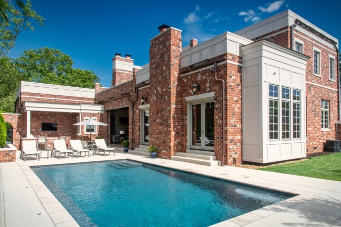 Custom home design in Kirkwood MO with outdoor living area