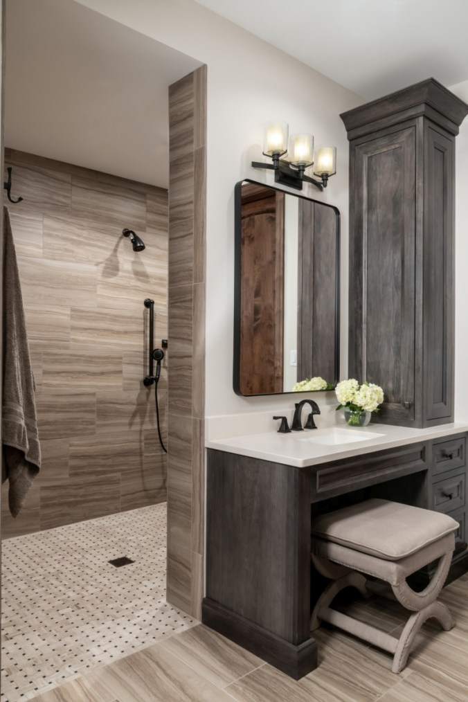 Master bath design with flush curbless walk-in shower